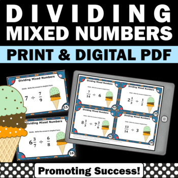 Dividing Mixed Numbers, Fraction Task Cards, 5th Grade Math Review Games