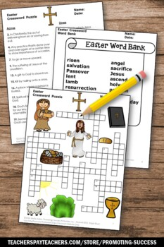 Easter Religious Crossword Puzzle, Christian Classroom Activity