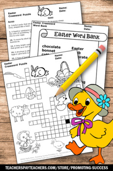 Easter Crossword Puzzle for ELA, Secular