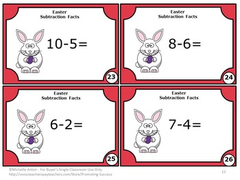 Easter Kindergarten Math Centers Subtraction Facts Task Cards Activities MA