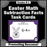 Kindergarten Easter Math Activities, Subtraction Facts Task Cards { MICH }