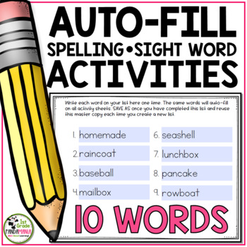 Spelling Activities For Any List of 10 Words (Editable)