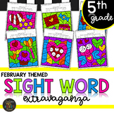 Fifth Grade Sight Word Activities Color by Code - February - Valentine's Day