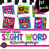 First Grade Sight Word Activities Color by Code - February - Valentine's Day