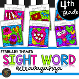 Fourth Grade Sight Word Activities Color by Code - February - Valentine's Day