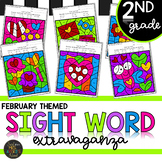 Second Grade Sight Word Activities Color by Code - February - Valentine's Day