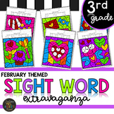 Third Grade Sight Word Activities Color by Code - February - Valentine's Day