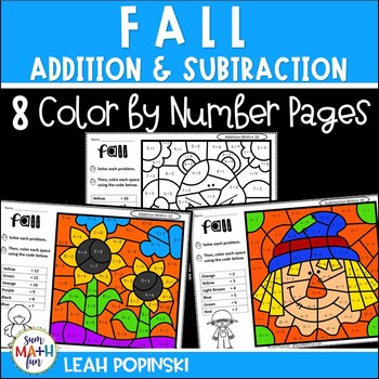 Fall - Addition and Subtraction Worksheets - Color by Number