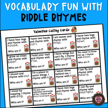 Valentine's Game - Bingo or Memory Game - Riddle Rhymes