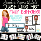 Student Name Labels - Editable Character Labels #Christmas