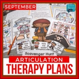 September Articulation Therapy Plans