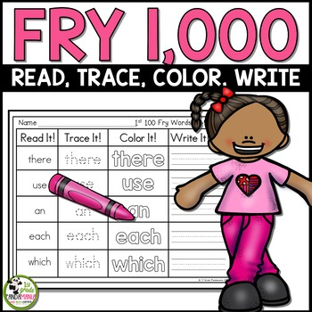 Fry Sight Word Read, Trace, Color Write It! Centers 1,000 Fry Words