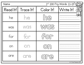 Fry Sight Word Read, Trace, Color Write It! Centers 600 Fry Words