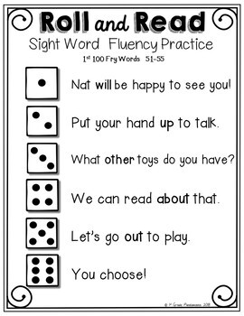 Fry Sight Word Roll and Read Center 600 Fry Words