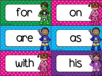 Fry Word Wall and Flash Cards Super Hero Theme ~ 100 Words