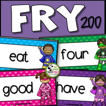 Fry Word Wall and Flash Cards Super Hero Theme ~ 200 Words