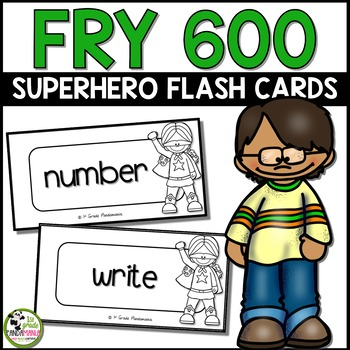 Fry Sight Words Flash Cards (Super Hero) for First 600 Fry Words
