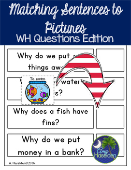 Matching Sentences to Pictures WH Questions Interactive