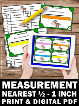 Measuring Length Using Inches, 1st Grade Math Review, Measurement Task Cards