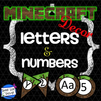 Minecraft Numbers and Letters - Banners/Pennant Plus (Sweet Line Design)