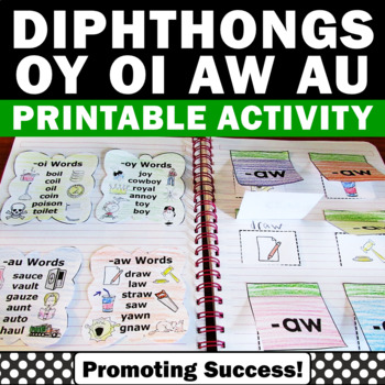 Diphthongs ou, ow, oi, oy, Diphthongs Interactive Notebook