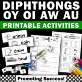 Diphthongs ou, ow, oi, oy, Diphthong Worksheets