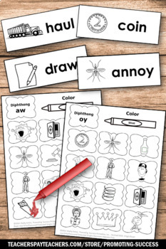 Vowel Diphthongs ou, ow, oi, oy, Phonics Worksheets for 1st, 2nd, 3rd Grade