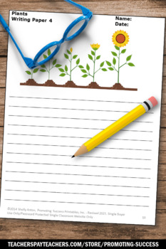 Plants Writing Paper, Plant Life Cycle Writing, Spring Summer School Activities