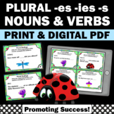 Plural Nouns and Verbs Task Cards, Adding ies es and s, Parts of Speech Games