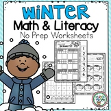 Winter Math and Literacy Worksheets for PreK and K   No Pr
