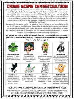 Saint Patrick's Day CSI Math Activity - Who Stole the Leprechaun's Gold?