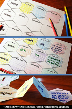 Foldable Suffixes ing ed, Speech Therapy Vocabulary, ESL Activities