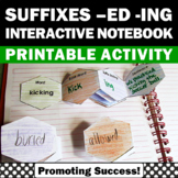 Word Endings ed ing, Suffixes Activities, Interactive Notebook
