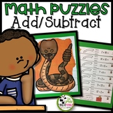 Addition and Subtraction Math Picture Puzzle Centers for K-2