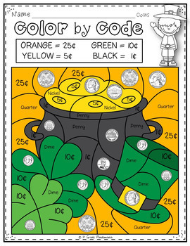 Color By Code Math Activities for March Grades 1-2