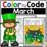 St. Patrick's Day Color By Number March Math Activities (1st - 2nd Grades)
