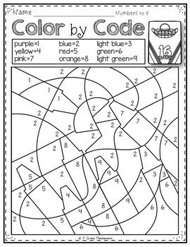 Color by Code Math Activities Back to School K-1