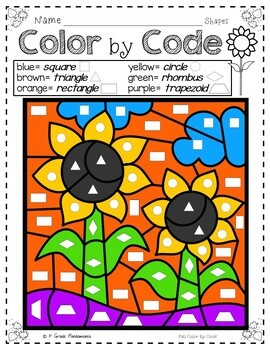 Color by Code Math Activities For Fall K-1