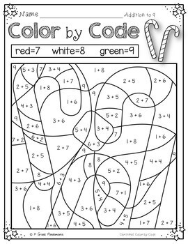 Color by Code Math Activities for Christmas K-2