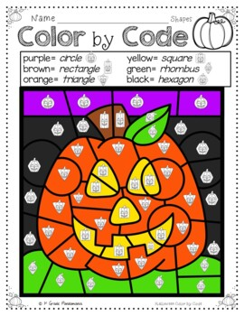 Color by Code Math Activities for Halloween Grades 1-2
