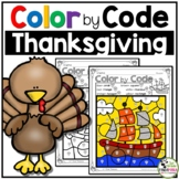 Color by Code Math Activities for Thanksgiving Grades 1-2