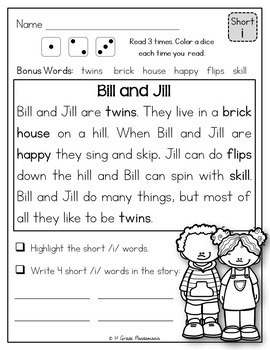 Fluency Passages For Short Vowels By 1st Grade Pandamania