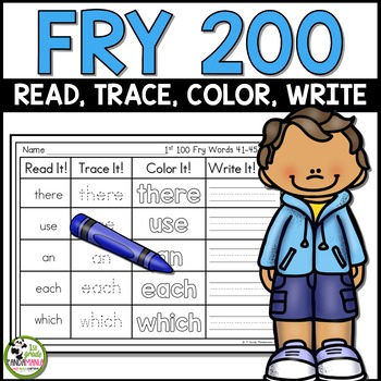Fry Sight Words Read, Trace, Color, Write Literacy Centers 1st 200 Fry Words