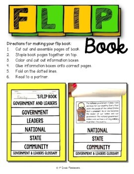 Government and Leaders: A 1st Grade Civics FLIP Book