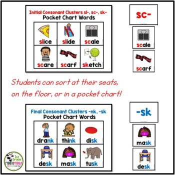 Initial and Final Consonant Clusters Pocket Chart Center Activity