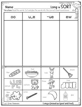 Long u Worksheets Phonics Activities
