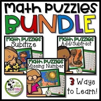 Math Picture Puzzle Centers Bundle for K-2