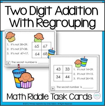 Addition with Regrouping ~ Math Snack Riddles