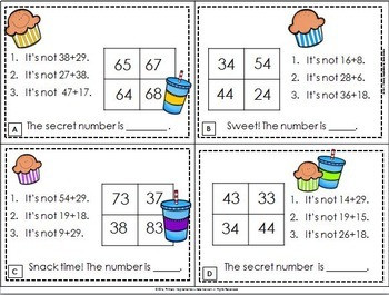 Addition with Regrouping Math Riddle Task Cards
