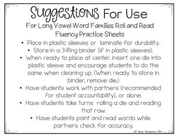Long Vowel Families Roll and Read Literacy Centers
